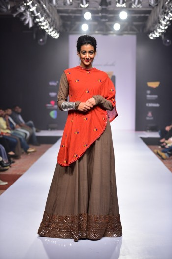Brown Khadi Dress with mirror and thread embroidered border