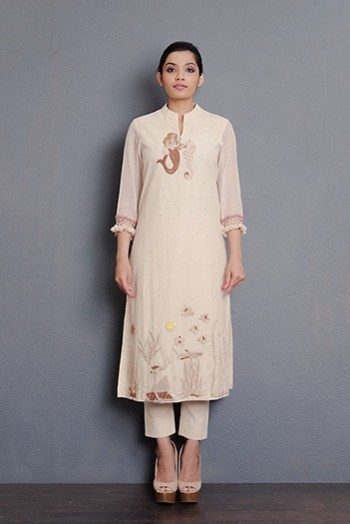 Kora khadi full hand embriodered kurta with kota sleeves