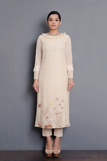 Off-white handwoven hand embroidered kurta with tassel detailing
