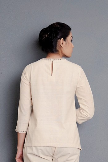 Kora khadi short top embellished with hand embroidery and mirror detailing