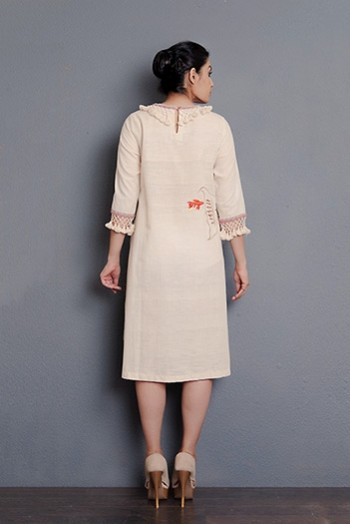 Off-white Handwoven hand embroidered A-line dress