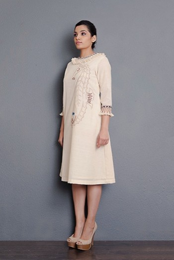 Kora khadi hand embroidered A-line dress with tassel detailing