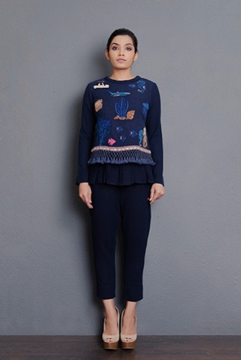 Indigo khadi hand embroidered double layered top