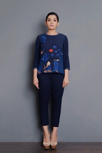 Indigo khadi short top embellished with hand embroidery and mirror detailing