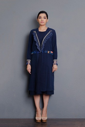 Indigo Tassel detailing flap collar hand embroidered long Jacket