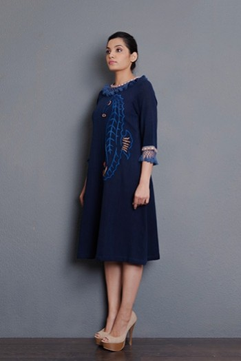 Indigo Handwoven hand embroidered A-line dress with tassel detailing