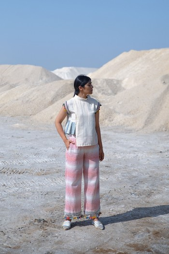 Kala cotton handwoven pleated top