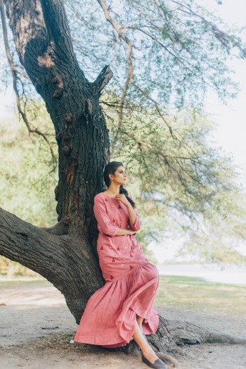 Pink Khadi Gathered Dress