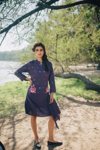 Purple Khadi Short Drape Dress