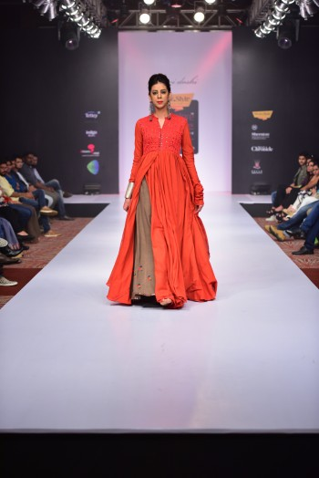 Red Handwoven Threads and mirror embroidered layered dress