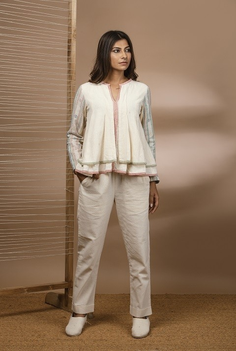 Kala cotton double layered kediya top with kala cotton straight pant