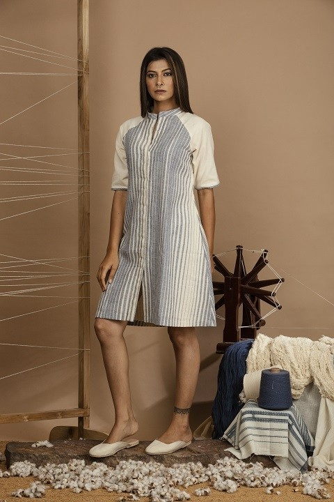 Kala cotton mandarin collar dress