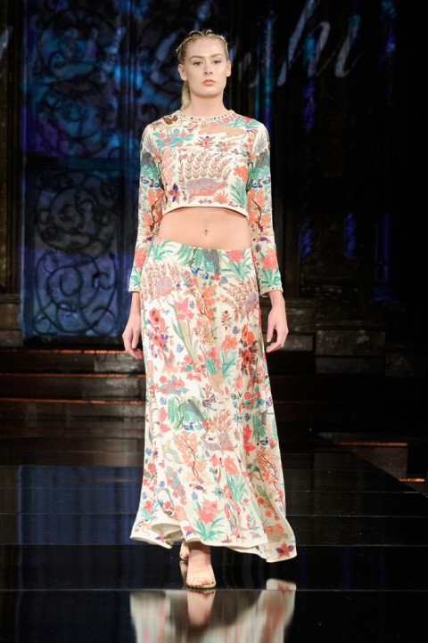 Hand Aari Embroidered Crop Top and Skirt
