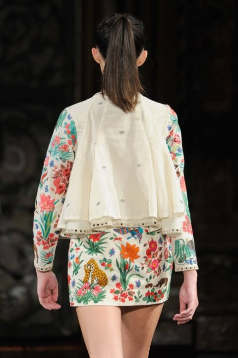 Two Layered Jacket with Hand Aari Embroidered Skirt Set