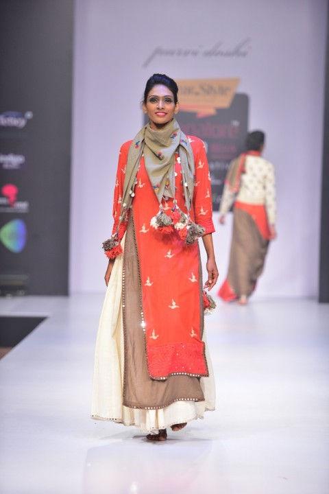 Red and brown Double layered mirror and thread embroidered Kurta