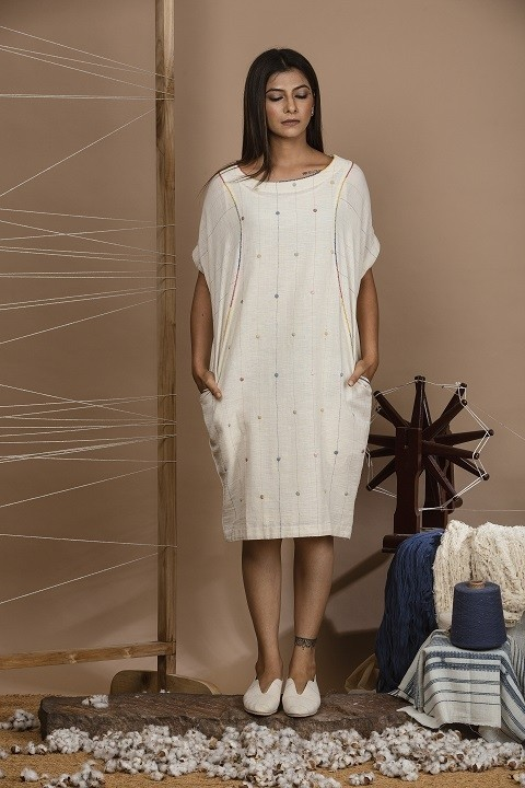 Kora kalacotton cacoon dress with applique work