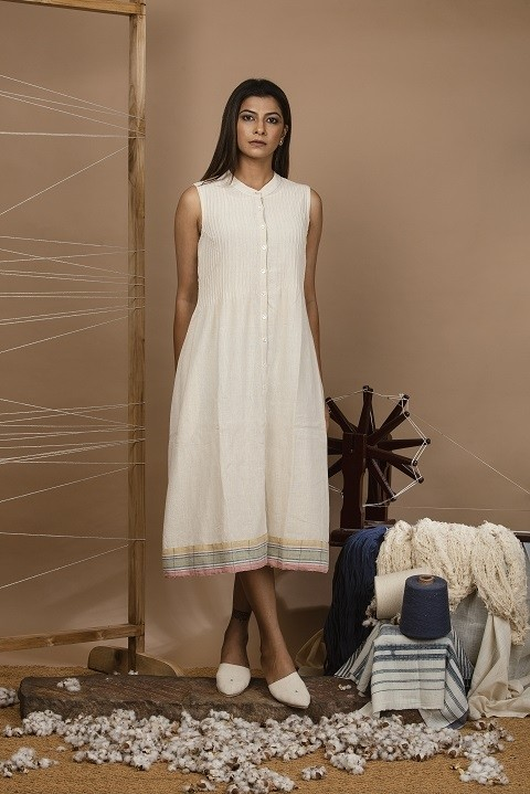 Kala cotton  A-line pin tucks dress