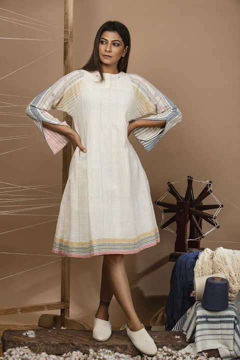 Off-white kalacotton pin tucks dress with bell sleeves