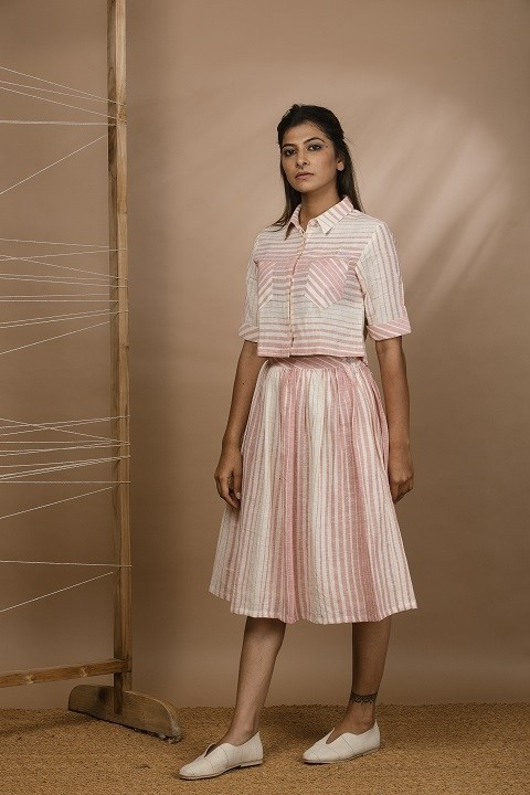 Kala cotton shirt with patch pockets and gathered skirt