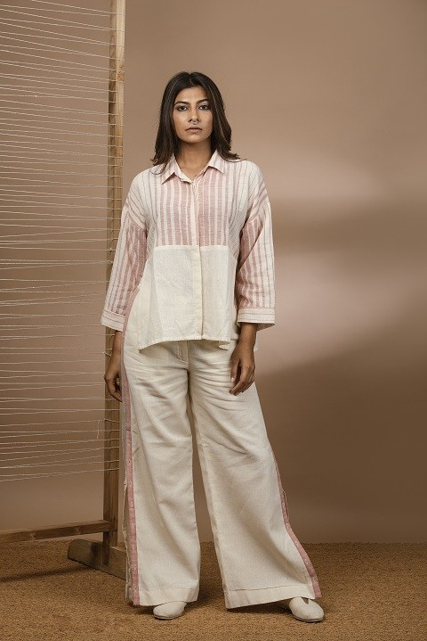Kala cotton colour block shirt