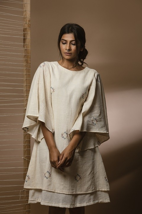 Kora kala cotton layered dress with circular sleeves