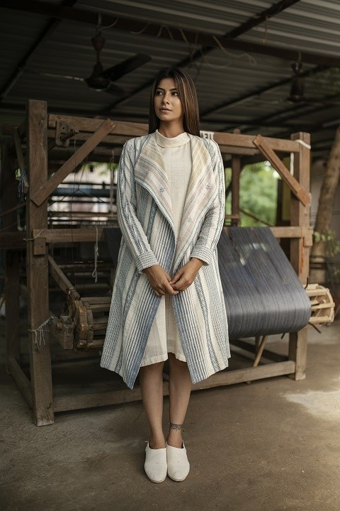 Kala Cotton turtle neck cross dress with hand woven jacket
