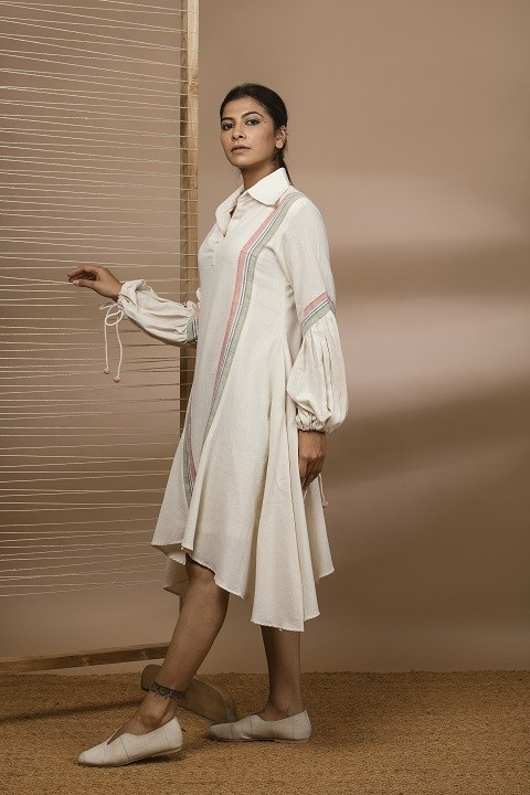 Kala cotton uneven hemline dress with puff sleeves