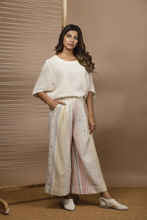 Kalacotton applique work Top with pleated pants