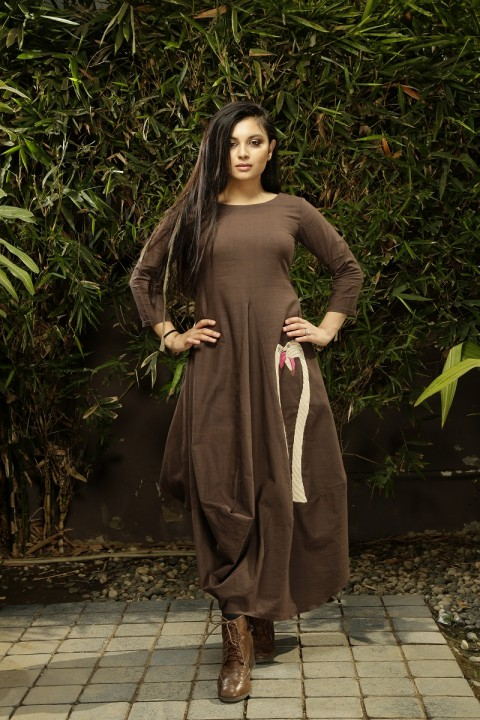 Coffee long Cowl Dress
