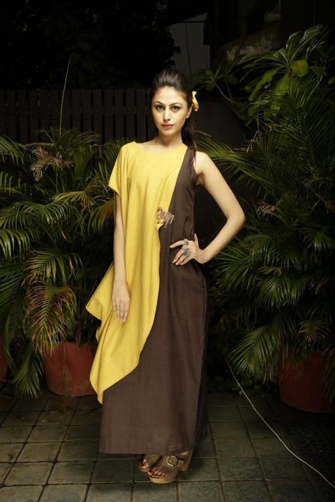 Mustard Coffee Overlap Dress