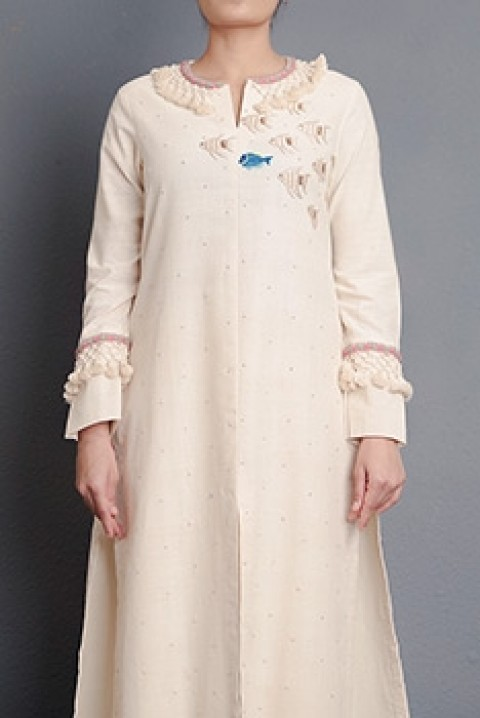 Kora khadi straight cut tunic with hand embroidery and tassel detailing