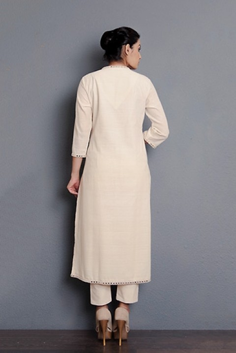 Kora khadi hand aari embroidered kurta with mirror detailing