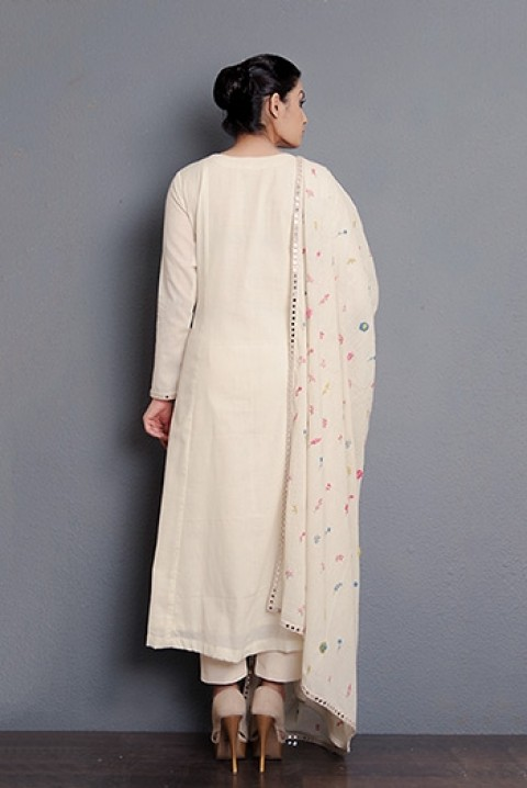 Kora khadi A-line kurta and hand embroidered dupatta with mirror work detaling