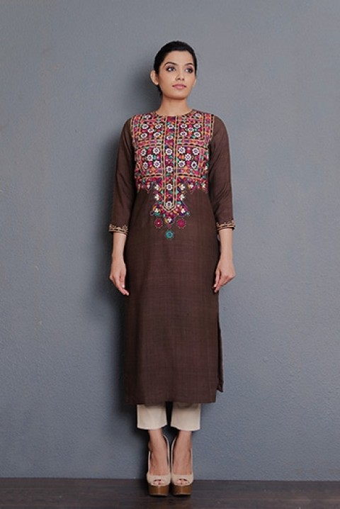 Brown ahinsha matka multi coloured kurta with hand embroidery.