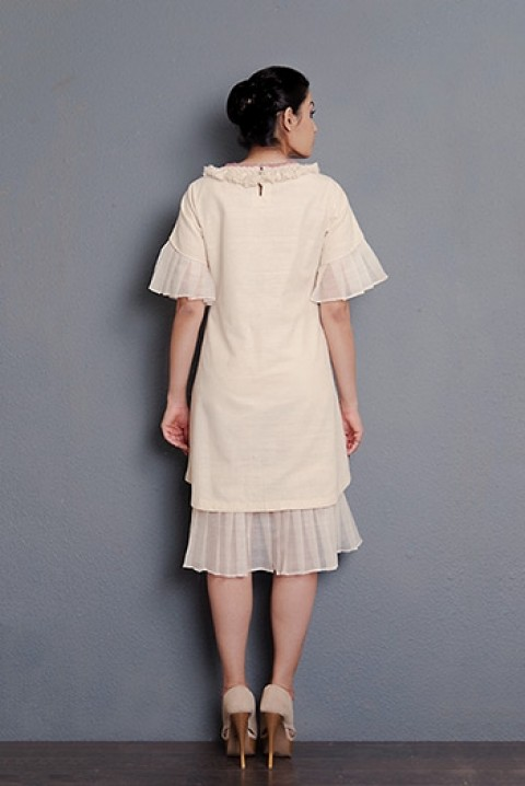 Off-white Handwoven hand embroidered layered dress