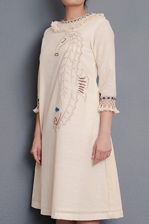 Off-white Handwoven hand embroidered A-line dress with tassel detailing
