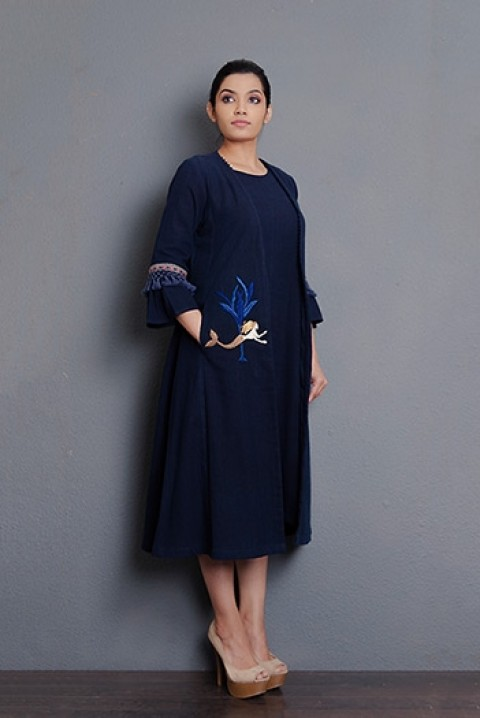 Navy blue hand embriodered overlay jacket with kota sleeves and tassel detailing