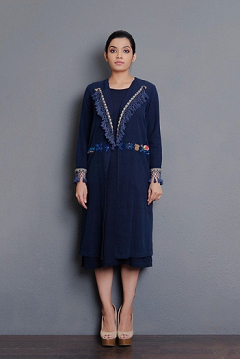 Indigo khadi Tassel detailing flap collar hand embroidered long Jacket