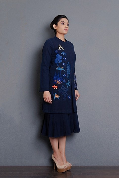 Indigo khadi  hand embroidered knee length Jacket