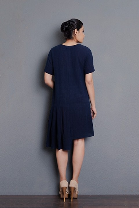 Indigo khadi hand embroidered uneven dress