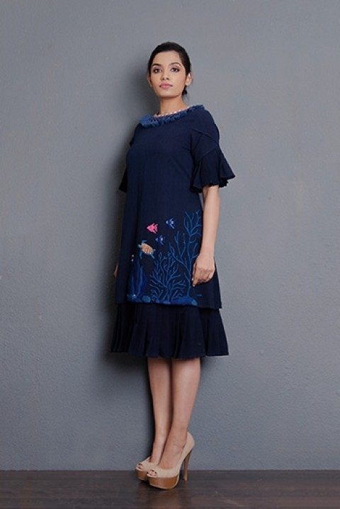Indigo khadi double layered pleated dress with hand embriodered and tassel detailing at the neck