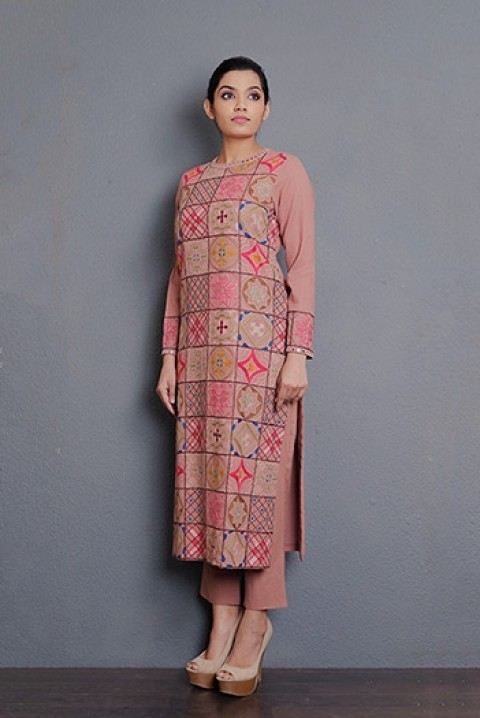 Dusty Pink hand aari embroidered kurta