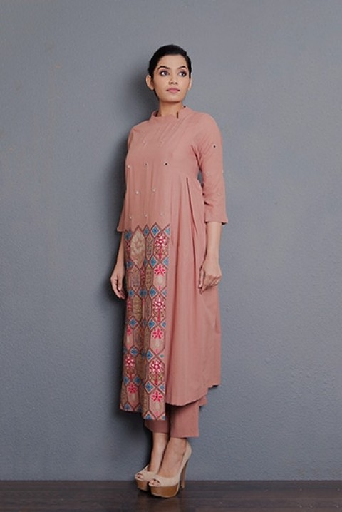 Dusty pink hand embroidered kurta