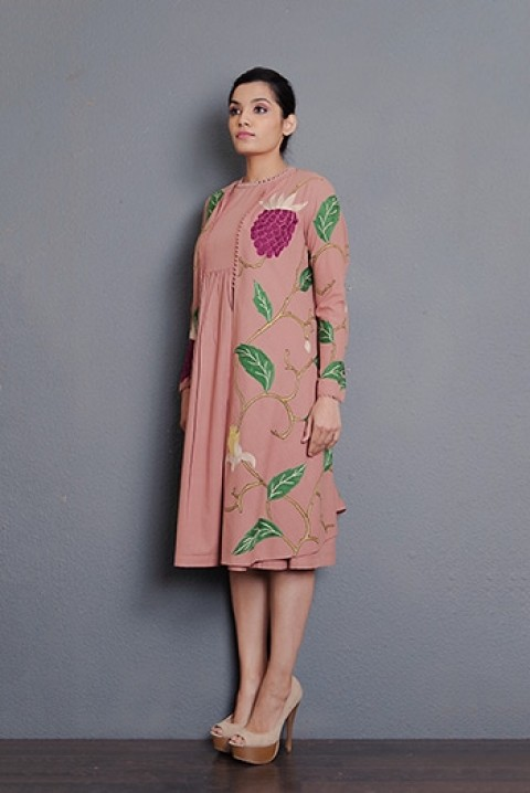 Dusty pink khadi hand embroidered jacket