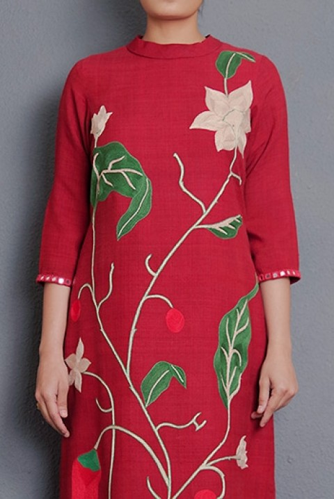 Red Ahimsa silk hand embroidered kurta