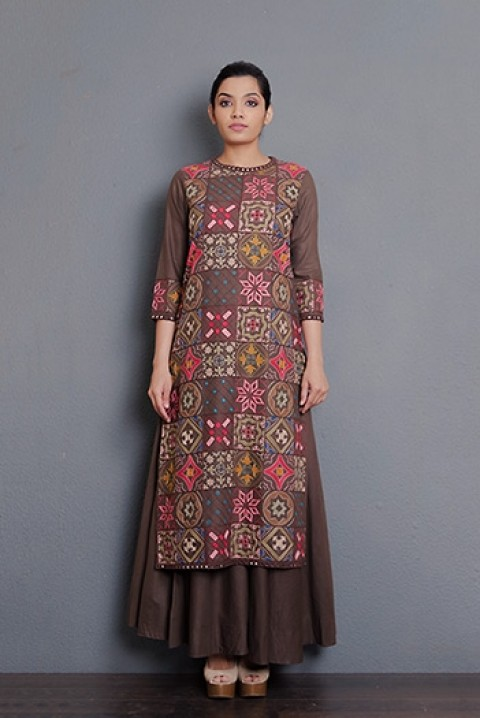 Coffee khadi hand aari embroidered kurta