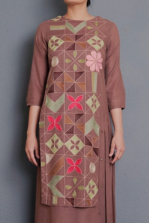 Choclate khadi hand aari embroidered kurta