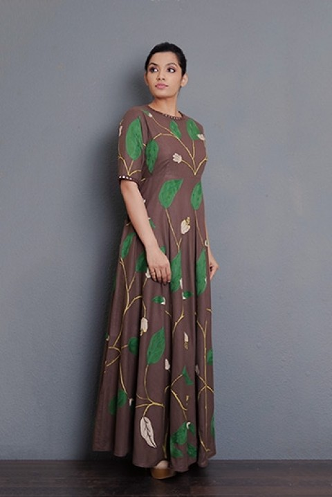 Coffee Handwoven hand aari embroidered dress