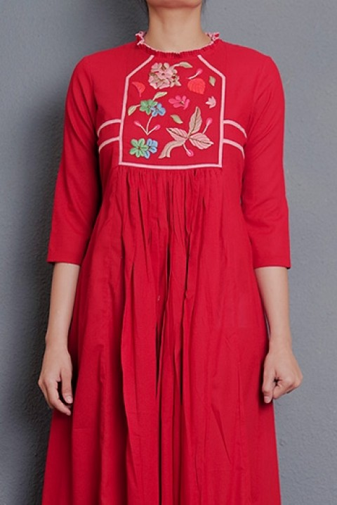 Red cotton hand embroidered gathered dress