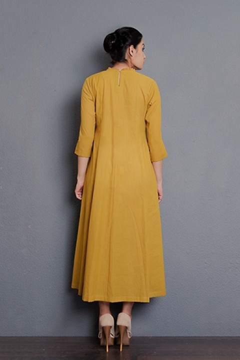 Mustard cotton hand embroidered gathered dress